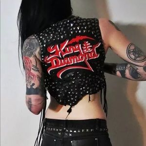 Hell Couture King Diamond Studded Leather Vest